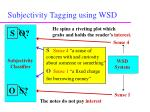 subjectivity tagging using wsd13