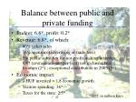 balance between public and private funding