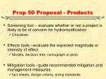 prop 50 proposal products