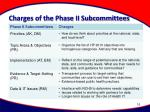 charges of the phase ii subcommittees