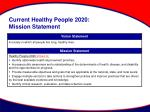 current healthy people 2020 mission statement
