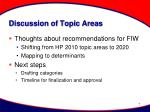 discussion of topic areas