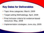 key dates for deliverables