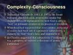 complexity consciousness