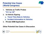 potential use cases world congress