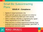 small biz subcontracting plans
