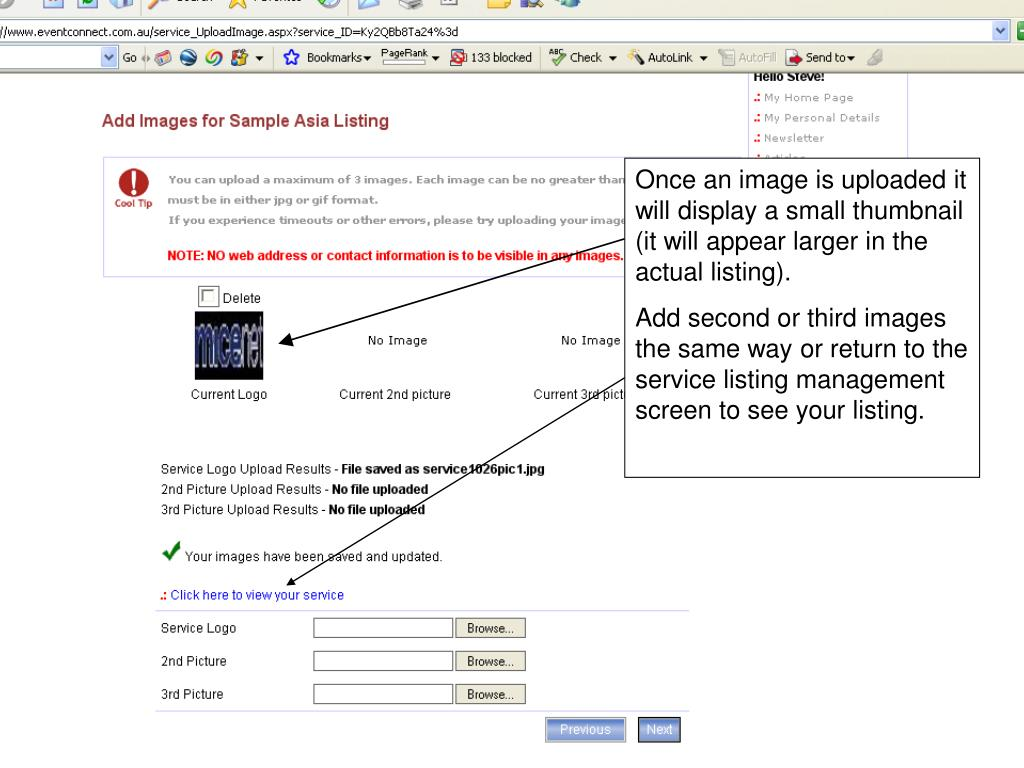 Once an image is uploaded it will display a small thumbnail (it will appear larger in the actual listing).