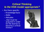critical thinking is the ksa model appropriate