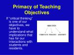 primacy of teaching objectives