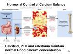 hormonal control of calcium balance