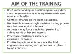 aim of the training