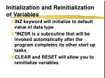 initialization and reinitialization of variables