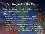 our neglect of the earth18
