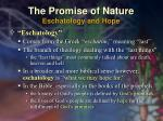 the promise of nature eschatology and hope