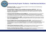 subcontracting program the basics small business definitions