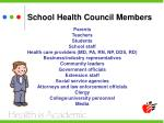 school health council members