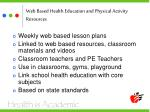 web based health education and physical activity resources