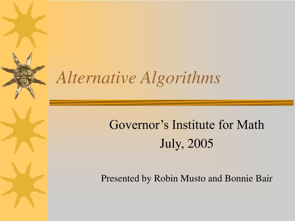 alternative algorithms l.