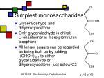 simplest monosaccharides
