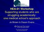 hea 01 workshop supporting students who are struggling academically one medical school s approach