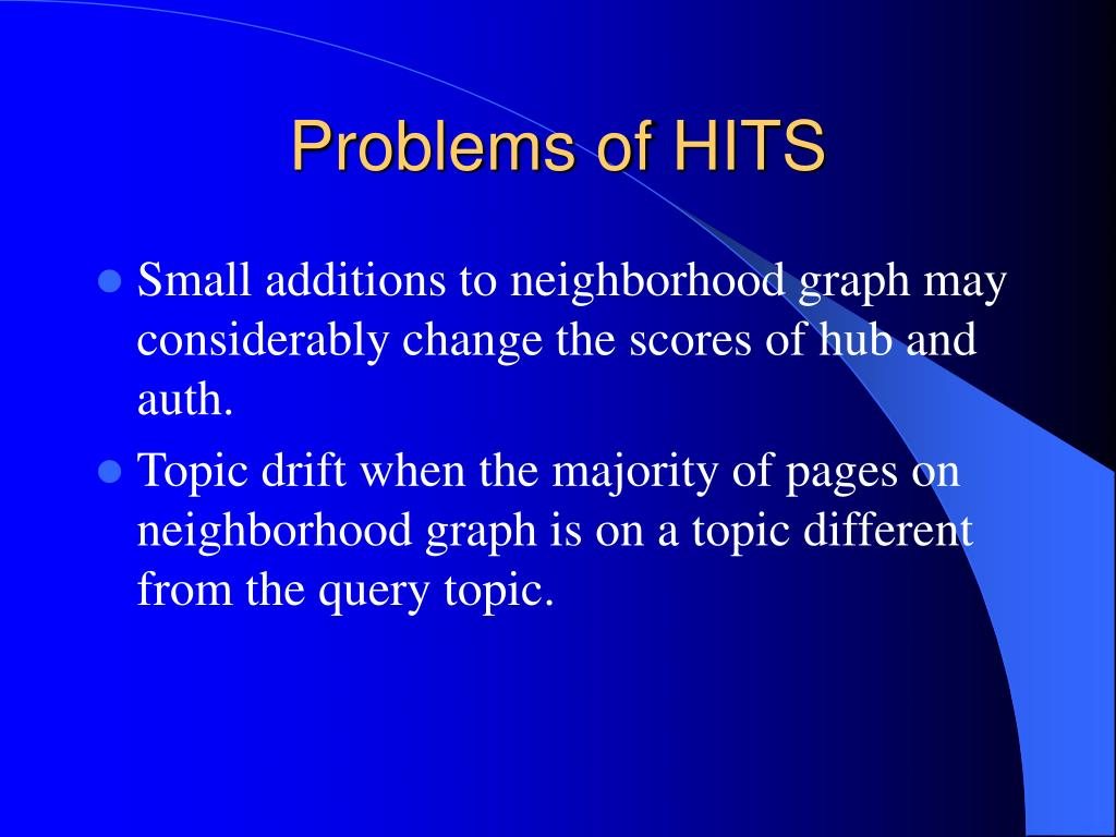 Problems of HITS