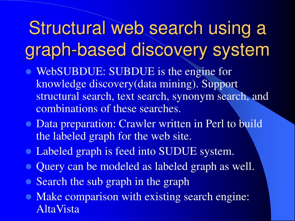 Structural web search using a graph-based discovery system