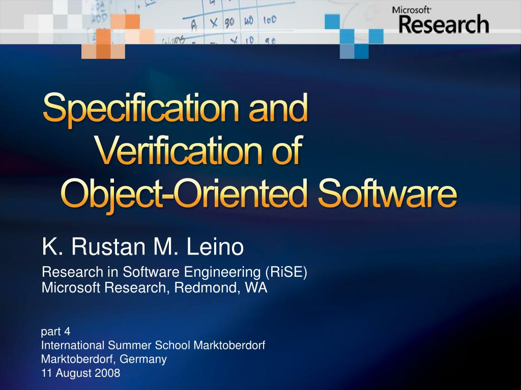 specification and verification of object oriented software l.