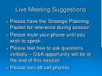 live meeting suggestions