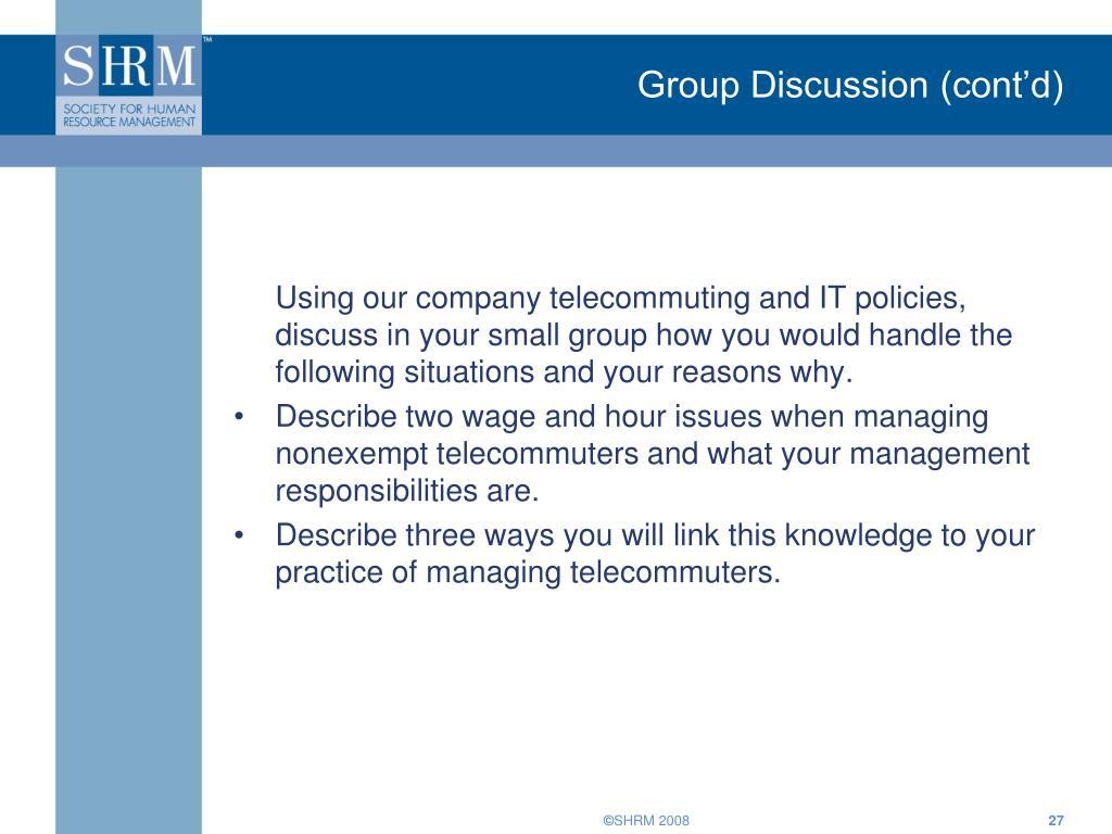 Group Discussion (cont'd)