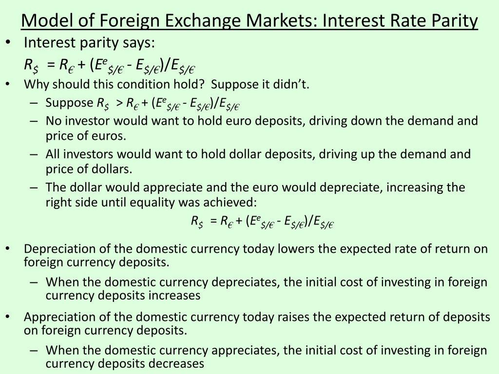 Model of Foreign Exchange Markets: Interest Rate Parity