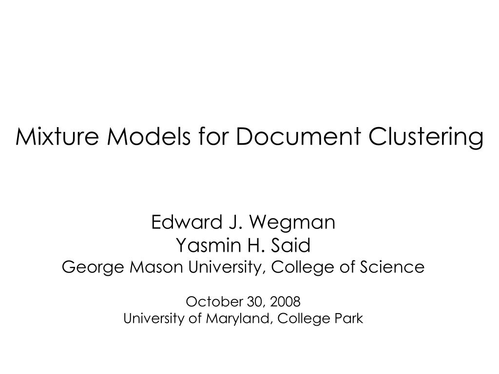 mixture models for document clustering l.