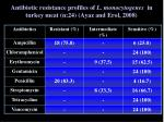 antibiotic resistance profiles of l monocytogenes in turkey meat n 24 ayaz and erol 2008
