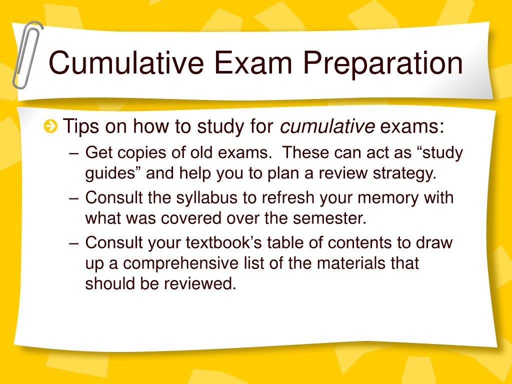 Cumulative Exam Preparation