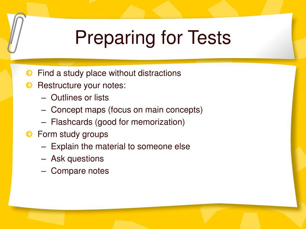 Preparing for Tests