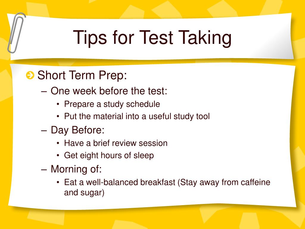 Tips for Test Taking