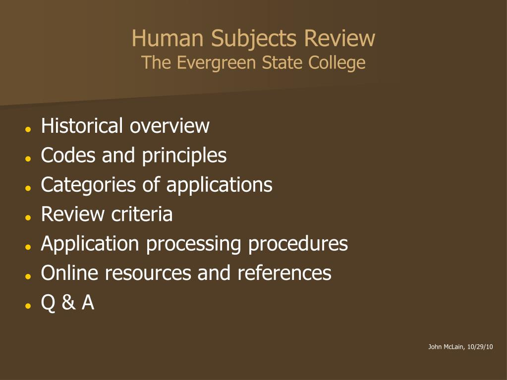 human subjects review the evergreen state college l.