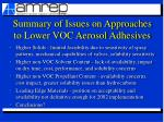 summary of issues on approaches to lower voc aerosol adhesives