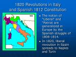 1820 revolutions in italy and spanish 1812 constitution