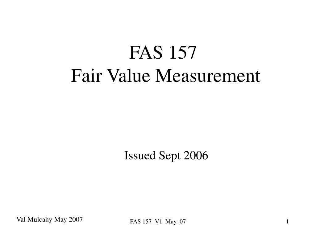 fas 157 fair value measurement issued sept 2006 l.