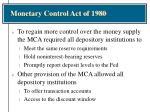 monetary control act of 1980