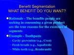 benefit segmentation what benefit do you want