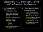 group work r l stevenson travels with a donkey in the cevenne