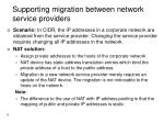 supporting migration between network service providers