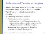 rethrowing and throwing an exception