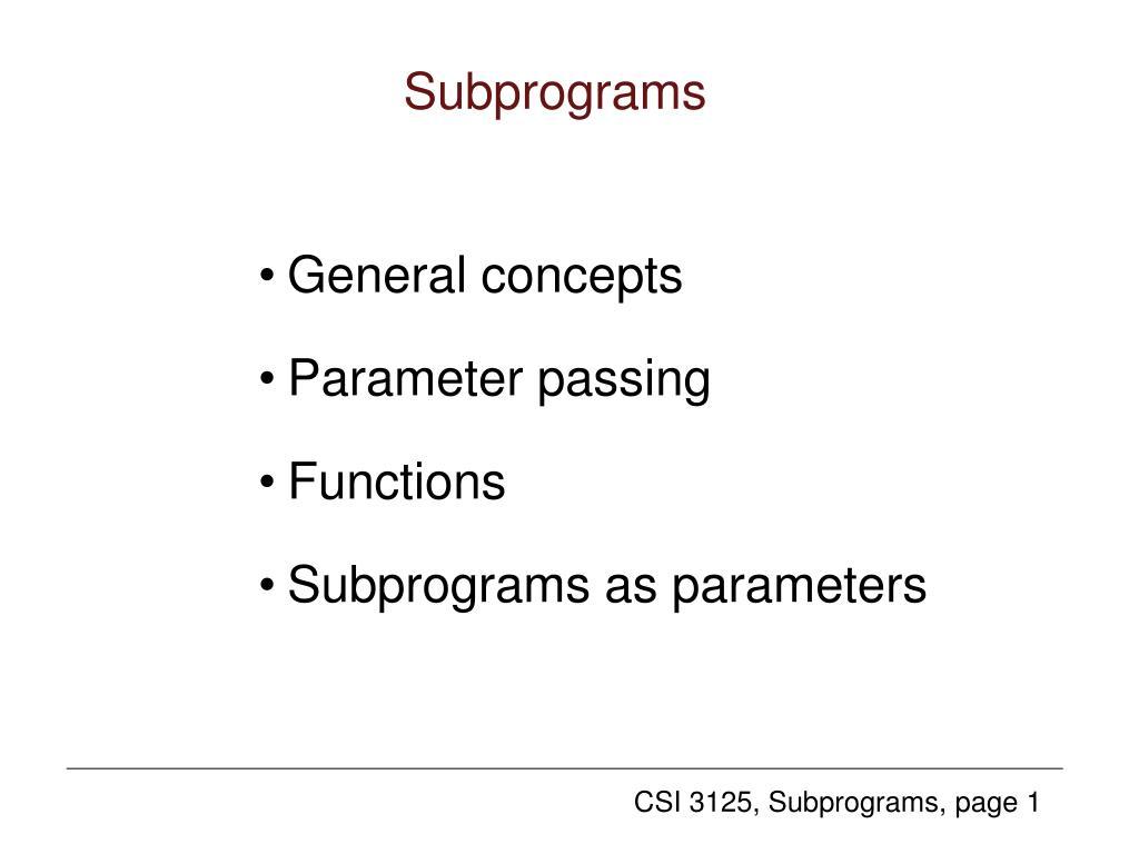 subprograms l.