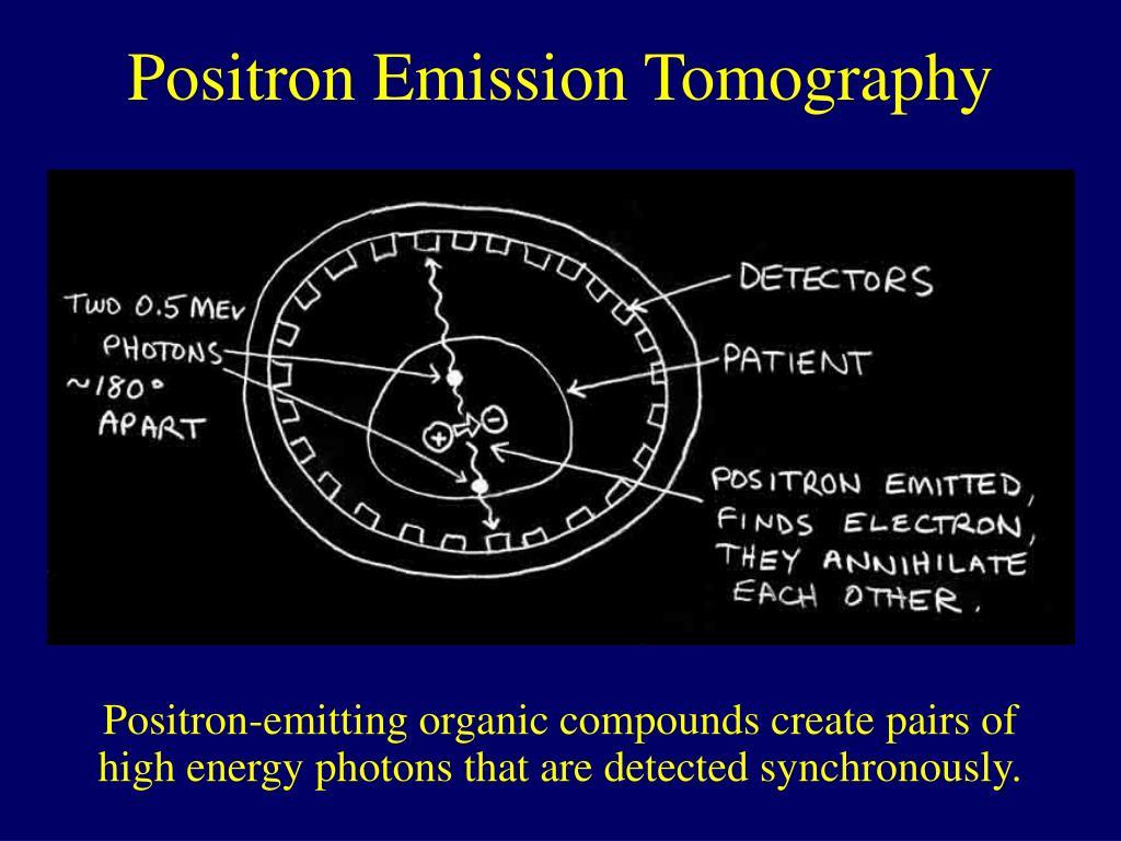 Positron-emitting organic compounds create pairs of