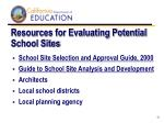 resources for evaluating potential school sites