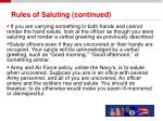 rules of saluting continued