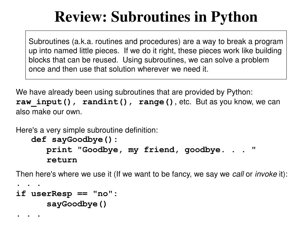 review subroutines in python l.