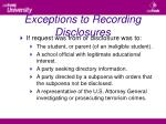exceptions to recording disclosures